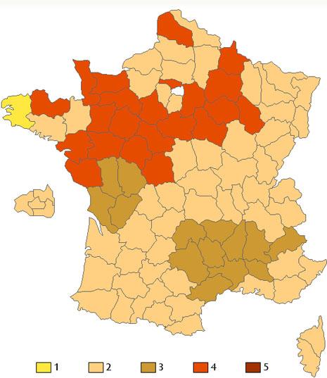 La carte Française de Bises ! dans Divers combien-de-bises